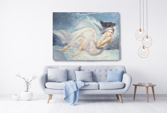 Underwater Grace and Beauty Painting Figurative Art Extra Large Nautical Blue Painting Large Canvas Print, Woman Figurative Canvas Print