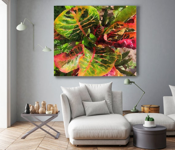 """Leaf Reflection Watercolor Painting Green Red Plant Minimalist Art Botanical Drawing Rustic Large Canvas Art Print up to 48"""" by Irena Orlov"""