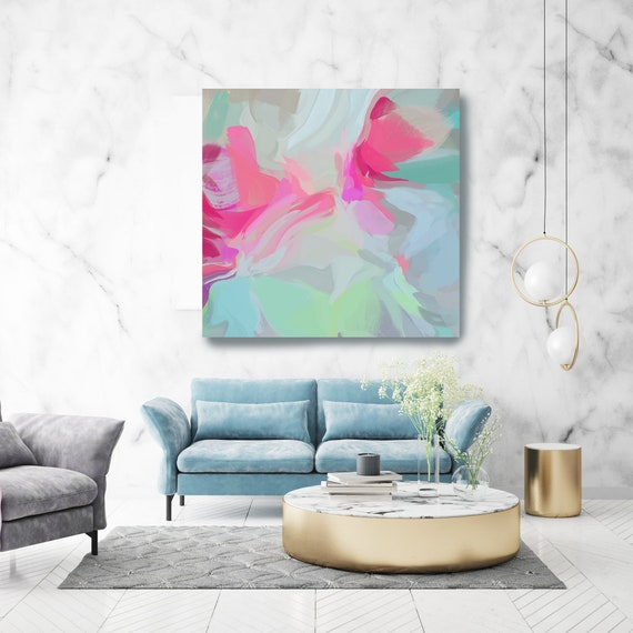 """Sound Of Hearts 3. Mint Pink Abstract Art, Wall Decor, Large Abstract Pink Mint Contemporary Canvas Art Print up to 50"""" by Irena Orlov"""