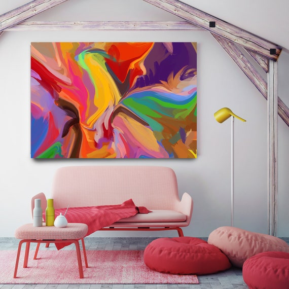 Game Painting, Vibrant Colorful Painting, Bright Multicolor Abstract Painting, Boho Painting Boho Chic Canvas Print, Flow Painting