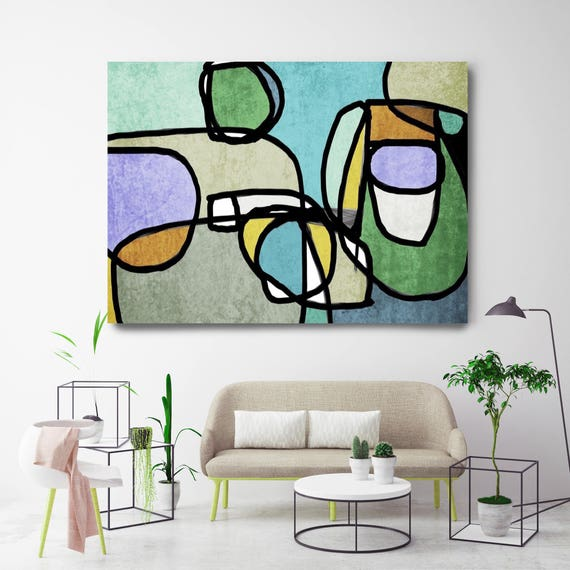 "Vibrant Colorful Abstract-56. Mid-Century Modern Green Blue Canvas Art Print, Mid Century Modern Canvas Art Print up to 72"" by Irena Orlov"