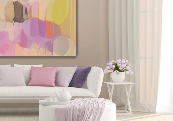 "Pure Emotion. Abstract Painting Print, Wall Decor, Extra Large Abstract Pink Purple Yellow Canvas Art Print up to 72"" by Irena Orlov"