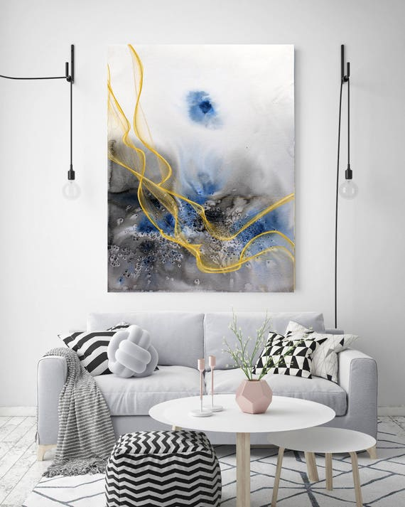 "Coastal Watercolor Abstract 77. Watercolor Abstract Blue Black Gold Canvas Art Print, Watercolor Painting Print up to 72"" by Irena Orlov"