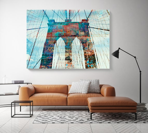 Brooklyn Bridge in Colors 1, Cityscape Art, Urban Art, City Wall Art, Blue Red Brooklyn Bridge New York Wall Art Canvas Art Print