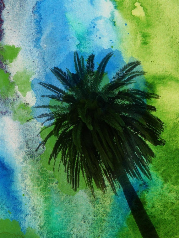 Palm tree on ocean.  Canvas Print by Irena Orlov 40x30""