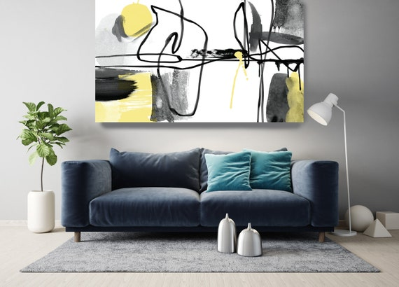Yellow Black Line Watercolor Minimalist Abstract. Modern Yellow Canvas Art Print, Contemporary Canvas Art Yellow Abstract, Scandinavian Art