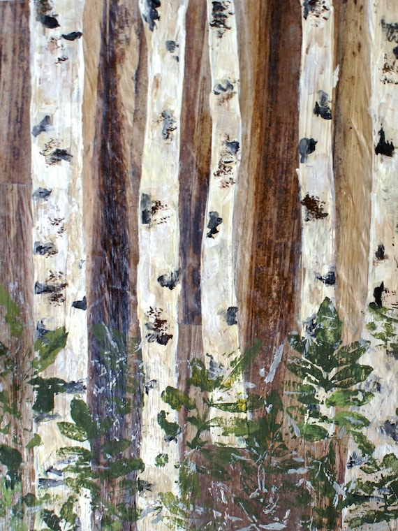 "Birches. Huge Rustic Landscape Painting Canvas Art Print, Extra Large Beige Green Brown White Canvas Art Print up to 80"" by Irena Orlov"