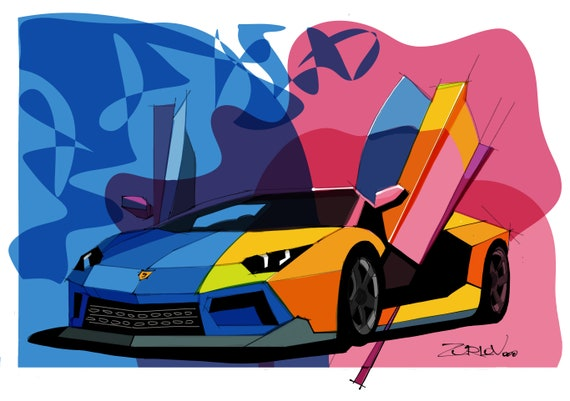 "Lamborghini, Lamborghini art print. Large Red Blue Lamborghini Painting Canvas Art Print, Cars Wall Decor up to 72"" by Zeev Orlov"