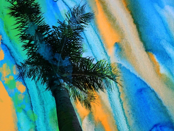 "California Sunset, Irena Orlov Palm Canvas Art Print, Large Palm Canvas Art up to 60"", Large Tropical Canvas Art Bright Blue Vivid Wall Art"
