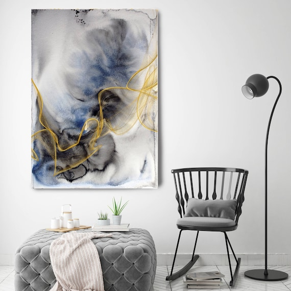 """Coastal Watercolor Abstract 86-2. Watercolor Abstract Blue Black Gold Canvas Art Print, Watercolor Painting Print up to 72"""" by Irena Orlov"""