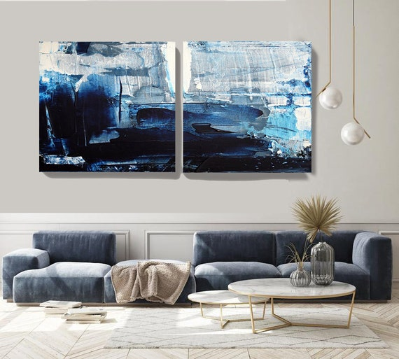 Midnight Blue Diptych canvas art prints-2 panels Stretched Canvas Wall Art, Canvas Art Print, Abstract Contemporary Wall Decor