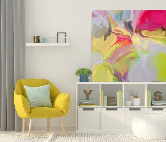 "Light Secrets, Art Abstract Print on Canvas up to 50"", Yellow Red Abstract Canvas Art Print  by Irena Orlov"