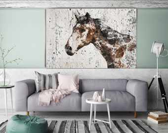 """Mr. X, Horse. Extra Large Horse, Unique Horse Wall Decor, Brown Rustic Horse, Large Contemporary Canvas Art Print up to 72"""" by Irena Orlov"""