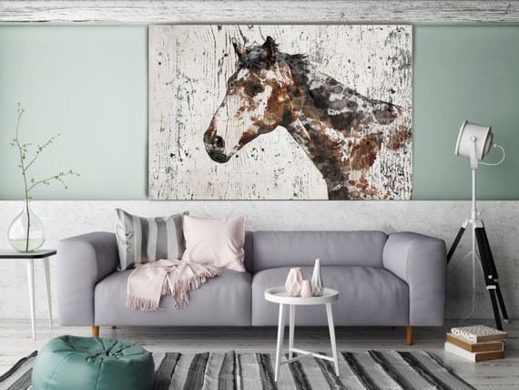 "Mr. X, Horse. Extra Large Horse, Unique Horse Wall Decor, Brown Rustic Horse, Large Contemporary Canvas Art Print up to 72"" by Irena Orlov"