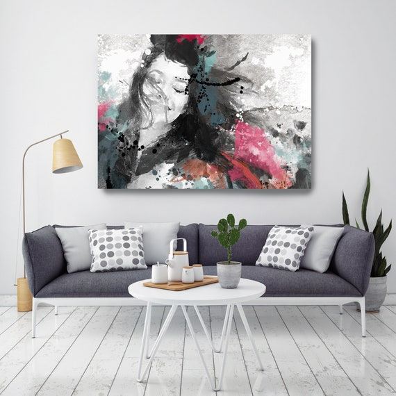 Happy Women, Figurative painting, Woman watercolor painting print Woman Portrait Painting ABSTRACT FIGURATIVE Red Black Woman Canvas Print