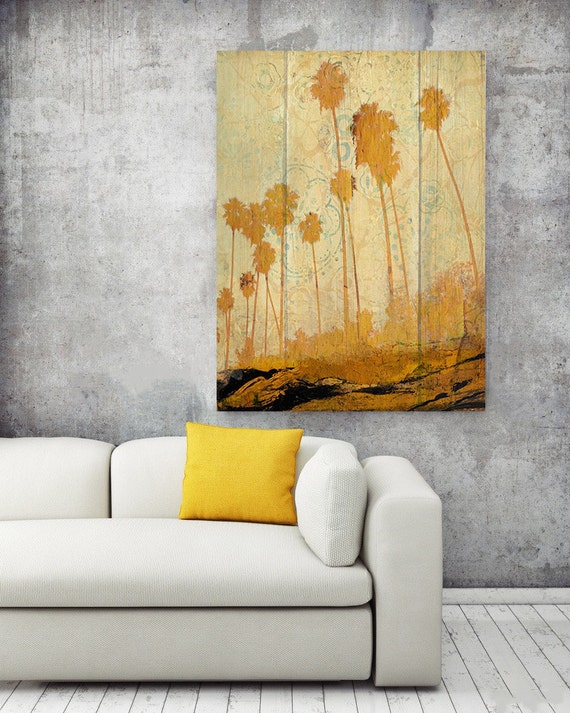 "Palms on Beach. Extra Large Yellow Rustic Palms Fine Art Canvas Print up to 72"", Tropical Wall decor Canvas Art by Irena Orlov"
