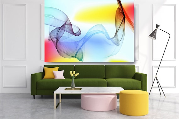 Yellow Red Blue Extra Large Wall Art Abstract Art Contemporary Art Large Colorful Canvas Print Flow Abstract New Media Gradient 2 Minimalist