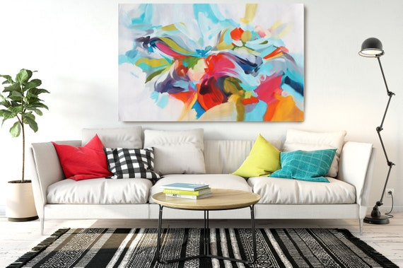 """Fights of Time, Abstract Painting Modern Wall Art Painting Canvas Art Print Art Modern Pink Blue Red up to 80"""" by Irena Orlov"""