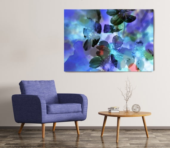 In Parallel time. Floral Painting, Blue Purple Green Floral Art, Floral Purple Canvas Art Print