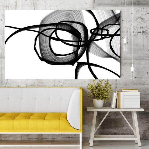 """Abstract Expressionism in Black And White 21, Contemporary Abstract Wall Decor, Large Contemporary Canvas Art Print up to 72"""" by Irena Orlov"""