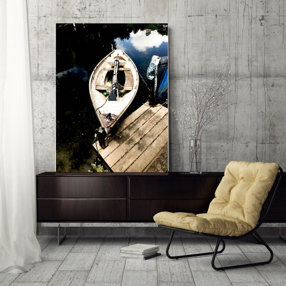 Vintage Boat, Rustic Boat Art, Beach Decor, Boat, Coastal Wall Canvas Art Print, Fishing Boat, Seascape Art, nautical, ocean, boats, water