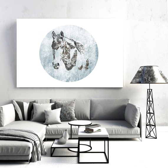Portrait of a Horse in Blue| Horse Painting | Giclee | Farm Animal | Horse Art| Rustic Horse | Horse Canvas | Abstract Horse