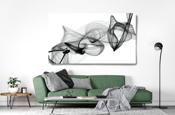 Black and White Wall Art, Home Decor Wall Art Black and White Canvas Print Abstract Print Large Wall Art, Office Decor, Upon the Mind
