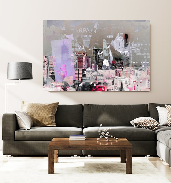 Urban View., Cityscape Art, Urban Art, City Wall Art, Urban Wall Art, Skyline, Urban Canvas Art Print, Purple Gray