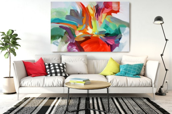 "Consequence of Love, Abstract Painting Modern Wall Art Painting Canvas Art Print Art Modern Red Green Yellow up to 80"" by Irena Orlov"