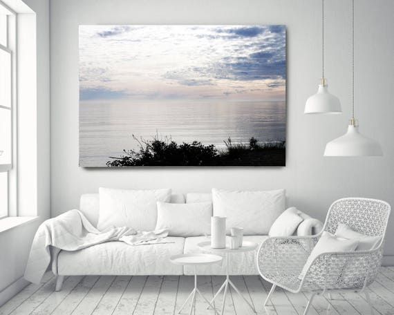 "Silver Ocean 5. Extra Large Water Canvas Art Prints up to 72"", Seascape Blue Pink Water Photography Print by Irena Orlov"