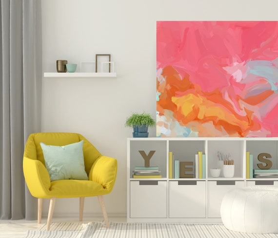 Become Unreachable, Original art abstract art acrylic painting, canvas painting, large wall art, Red Yellow original painting, canvas print