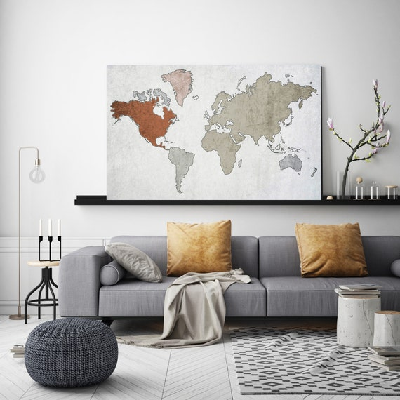 Unique world map, Huge world map, Beige Brown Rustic map, Industrial art, Cottage wall, Vintage Map, Map canvas art print, Map on canvas