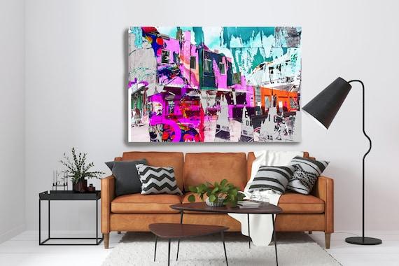 At Venice Beach 3, Colorful Urban Art, Architectural Canvas Art Print, Cityscape Art, Contemporary Art, Venice Beach LOS Angeles Artwork