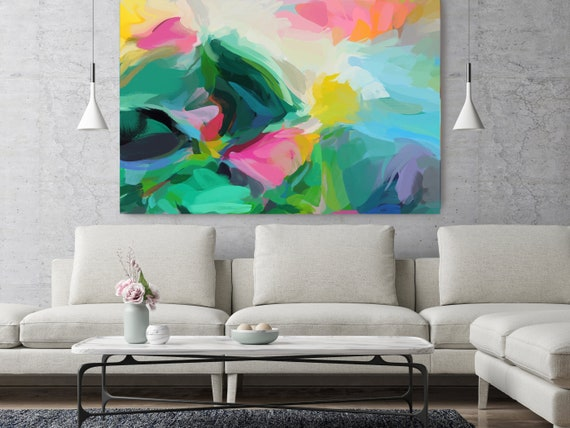 "Good Dreams 3, Green Blue Pink Abstract painting Original Acrylic Abstract Art on Canvas, Fine Art Canvas Print up to 80"" by Irena Orlov"