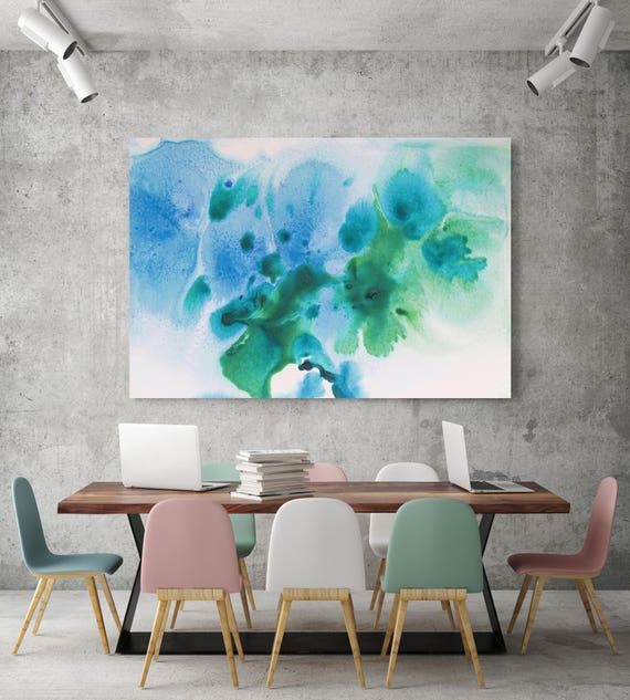 "Watercolor Coastal Abstract 52. Watercolor Abstract Blue Green Canvas Art Print, Watercolor Painting Print up to 72"" by Irena Orlov"