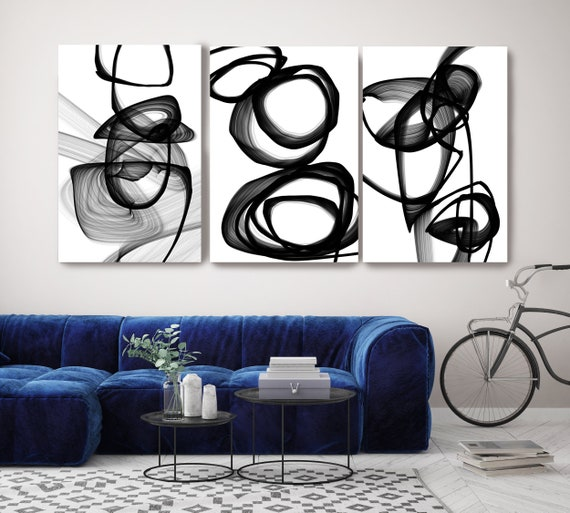New Media Circles Black White TRIPTYCH canvas art prints-3 panels Stretched Canvas Wall Art, Canvas Art Print, Abstract Black Wall Decor