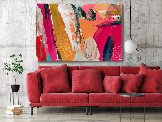 Joyful Modernist Abstraction 1, Abstract Painting Modern Art Abstract Painting Extra Large Painting Extra Large Abstract Canvas Print
