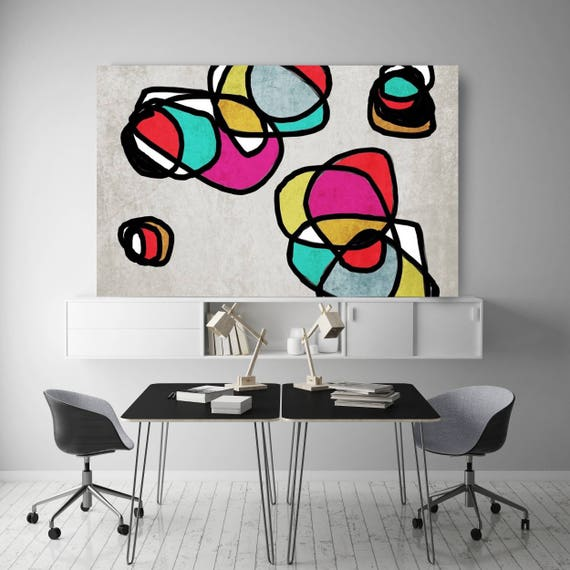 "Vibrant Colorful Abstract-0-24. Mid-Century Modern Gray Pink Canvas Art Print, Mid Century Modern Canvas Art Print up to 72"" by Irena Orlov"