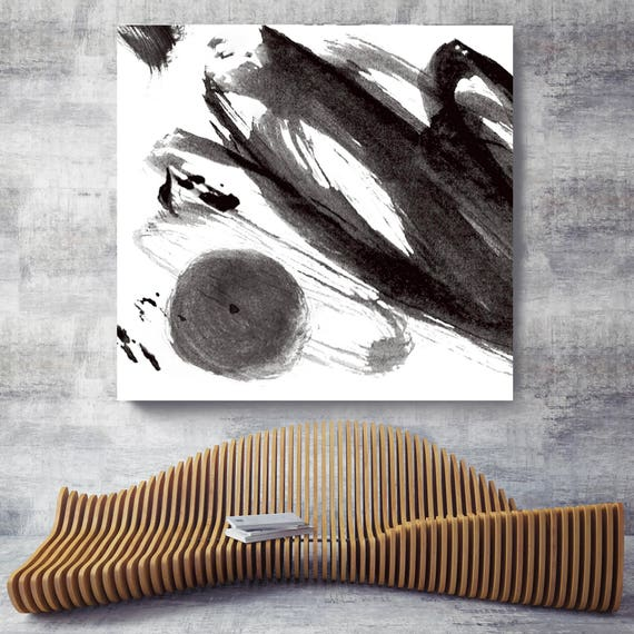 "A touch. Contemporary Abstract Black and White, Large Contemporary Abstract Canvas Art Print up to 48"" by Irena Orlov"
