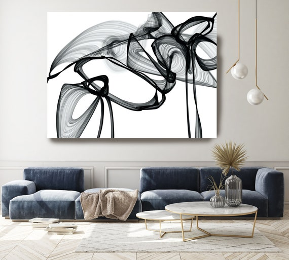 A moment in time 45H x 60W inch, Innovative ORIGINAL New Media Abstract Black And White Painting on Canvas Minimalist Art