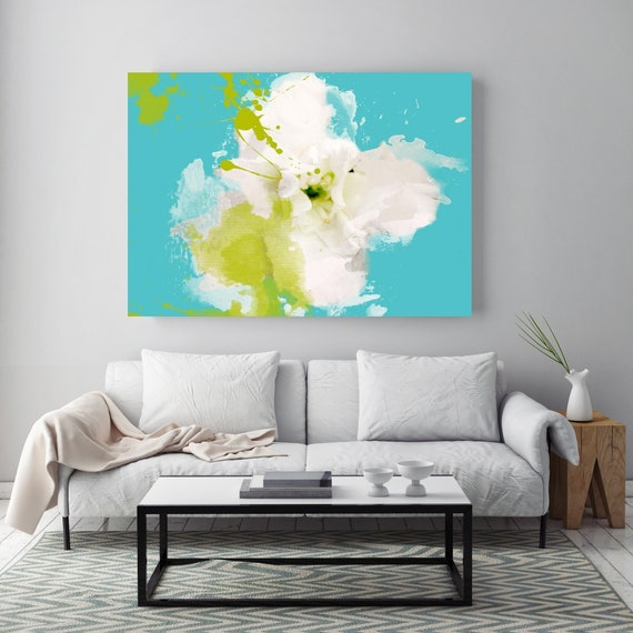"Sea Breeze. Floral Painting, White Aqua Green Abstract Art, Large Abstract Colorful Contemporary Canvas Art Print up to 72"" by Irena Orlov"