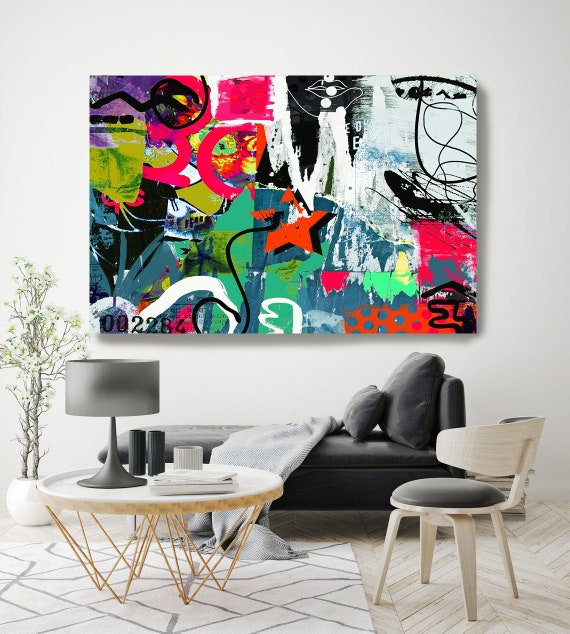 Graffiti Art, Street Art, Colorful Street Art Painting Print on Canvas, Large Canvas Print, Urban Canvas Print, All I could see
