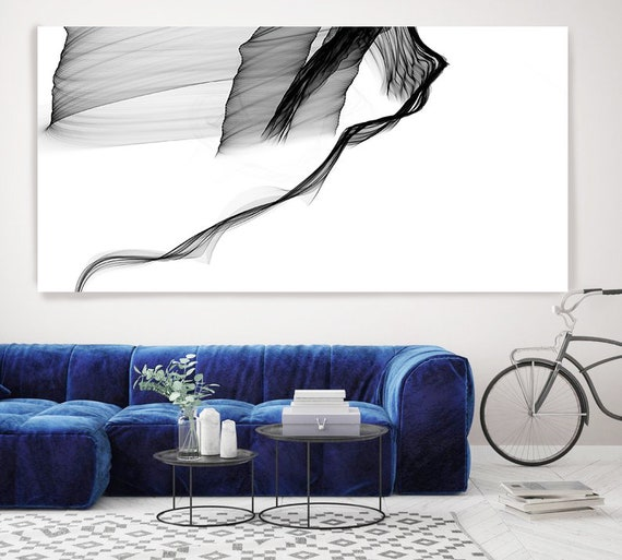 "Extra Large Minimalist Wall Art up to 100"", Abstract Painting, Contemporary Art, Black and white painting, Canvas Art Print, Large Abstract"
