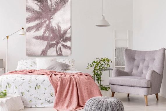 Beachscape Pink Palms. Palm wall art Palm decor Palm canvas art Print Palm trees wall art Palm canvas Palm trees art Rustic Palm trees Blush