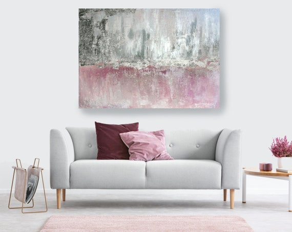 Silver Pink Abstract Painting Silver Pink Modern Art Abstract Painting Extra Large Silver Painting Extra Large Abstract Canvas Print