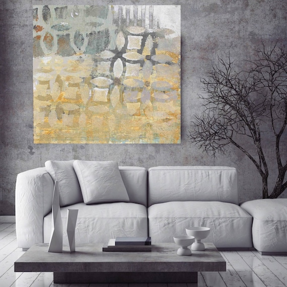 """Origin. Geometrical Abstract Art, Wall Decor, Extra Large Gray Gold Abstract Colorful Contemporary Canvas Art Print up to 48"""" by Irena Orlov"""