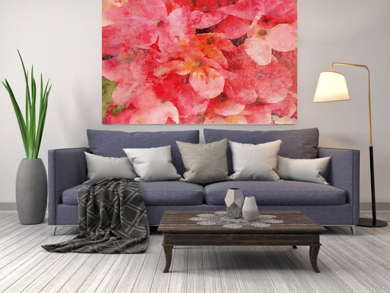 """ORL-8058-2 Dusty. Floral Painting, Pink Red Abstract Art, Large Abstract Colorful Contemporary Canvas Art Print up to 72"""" by Irena Orlov"""