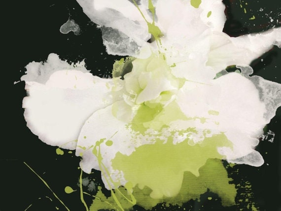 "Serene Green. Floral Painting, White Green Black Abstract Art, Abstract Contemporary Canvas Art Print up to 72"" by Irena Orlov, Parakeet"