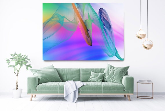 Teal Purple Modern Wall Art, Office Decoration Vibrant Wall Art Electric Canvas Print, Home Decor, New Media, Color in the Lines 29-71