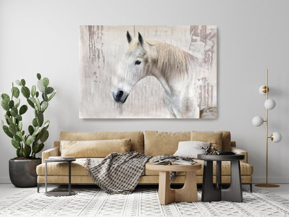 """White Rustic Farmhouse Horse Oil Painting on Canvas, White Horse Portrait 72 H X 50"""" W,  Rolled"""